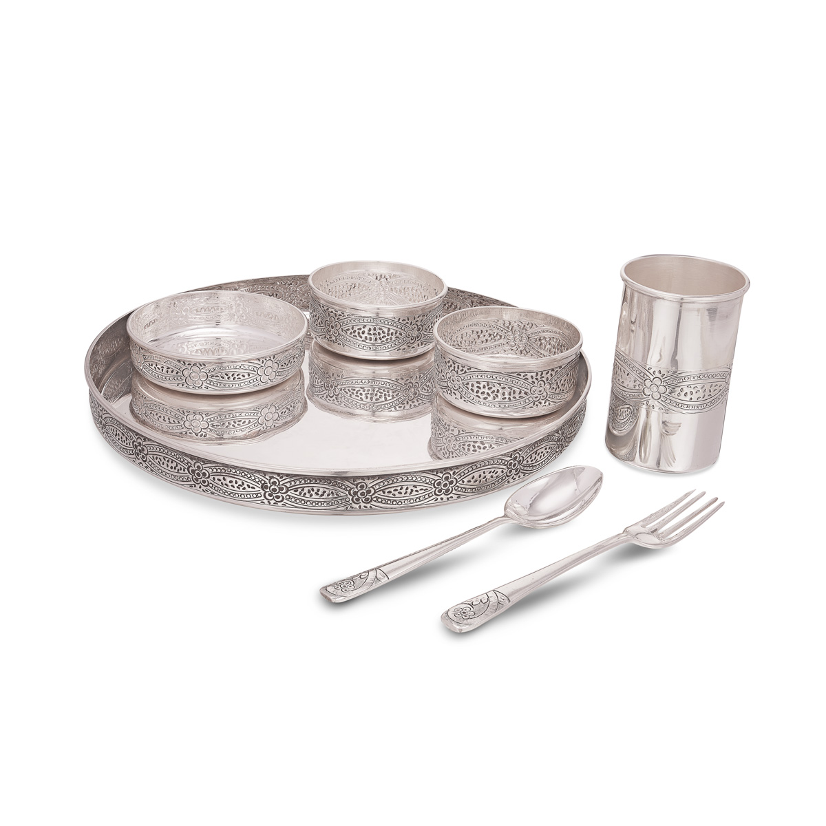 Antique Meal Plate Set In Silver