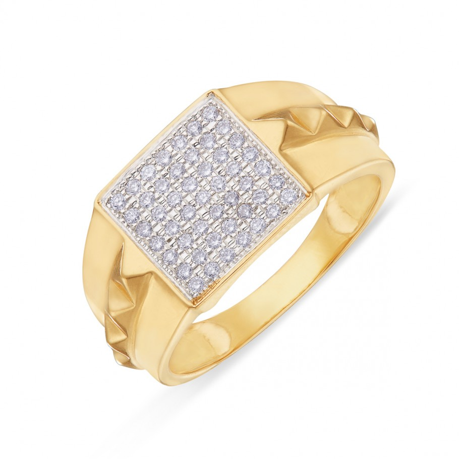 7x7 Brilliance Diamond Studded Gold Ring for Men