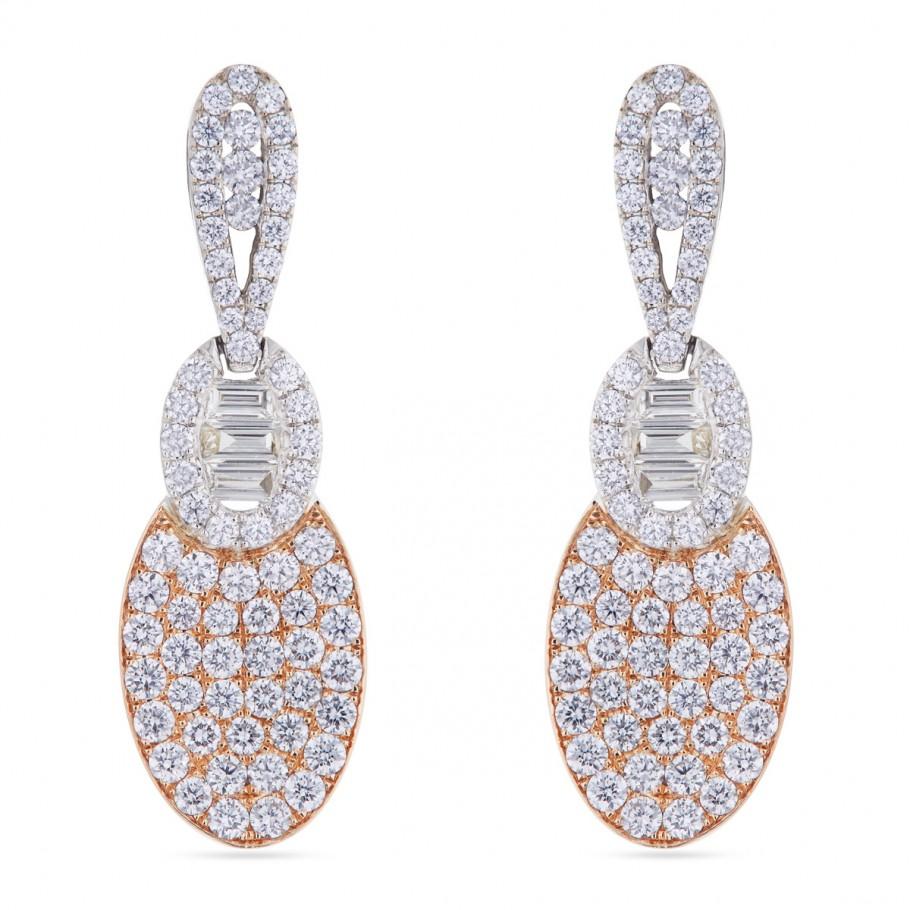 Oval Rose & white Earring