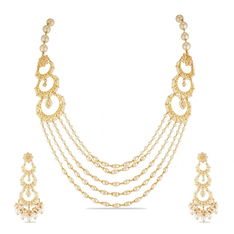 Station Pearl Look Necklace Long Necklaces Gold