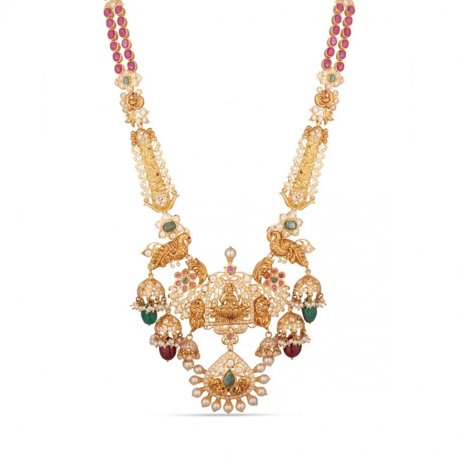 Dweshini Lakshmi Haram Long Necklaces Gold