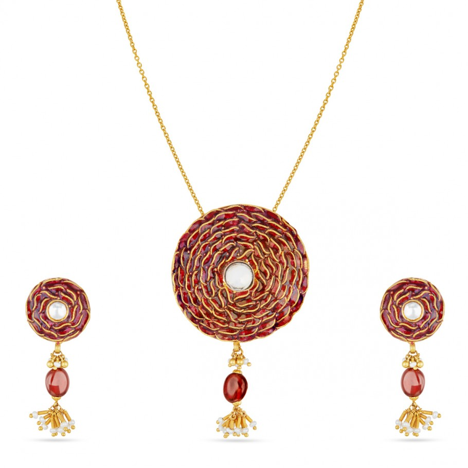 Enamel Disc Pendant-Earrings Set