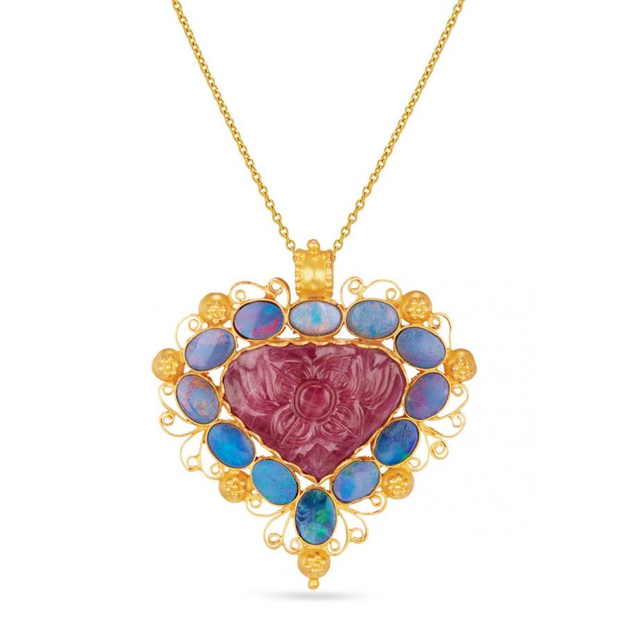 Rose & Opals Pendant
