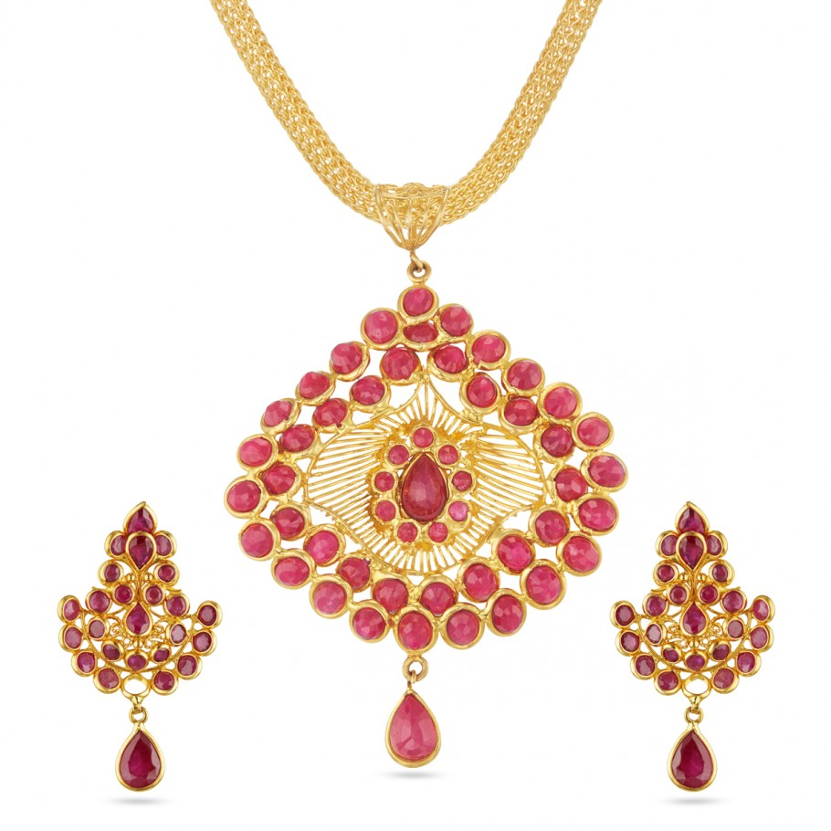 Ruby Pendant-Earrings Set