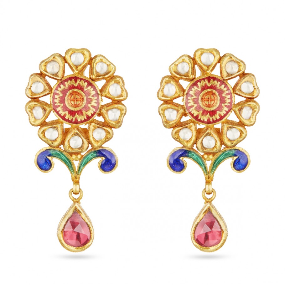 Kundan and Enamel Ear-drops