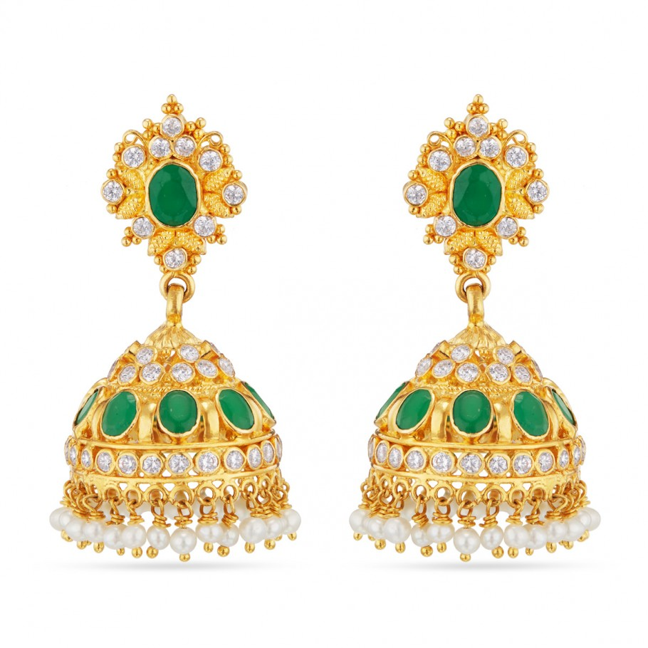 Trendy Emerald Jhumkhas!