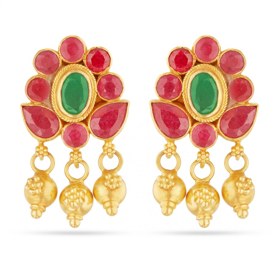 Emerald and Ruby Ear-drops