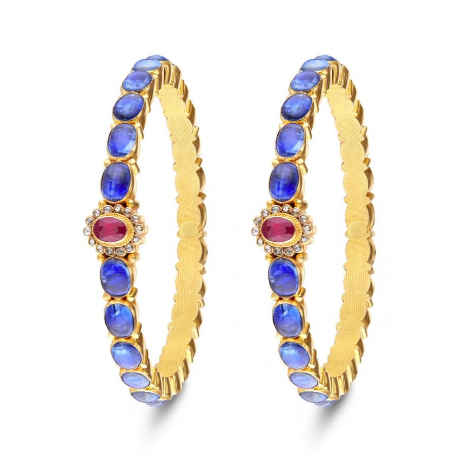Blue Sapphire&Ruby Bangle