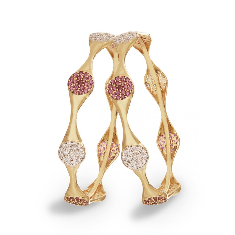 Vivid White&Pink Stones