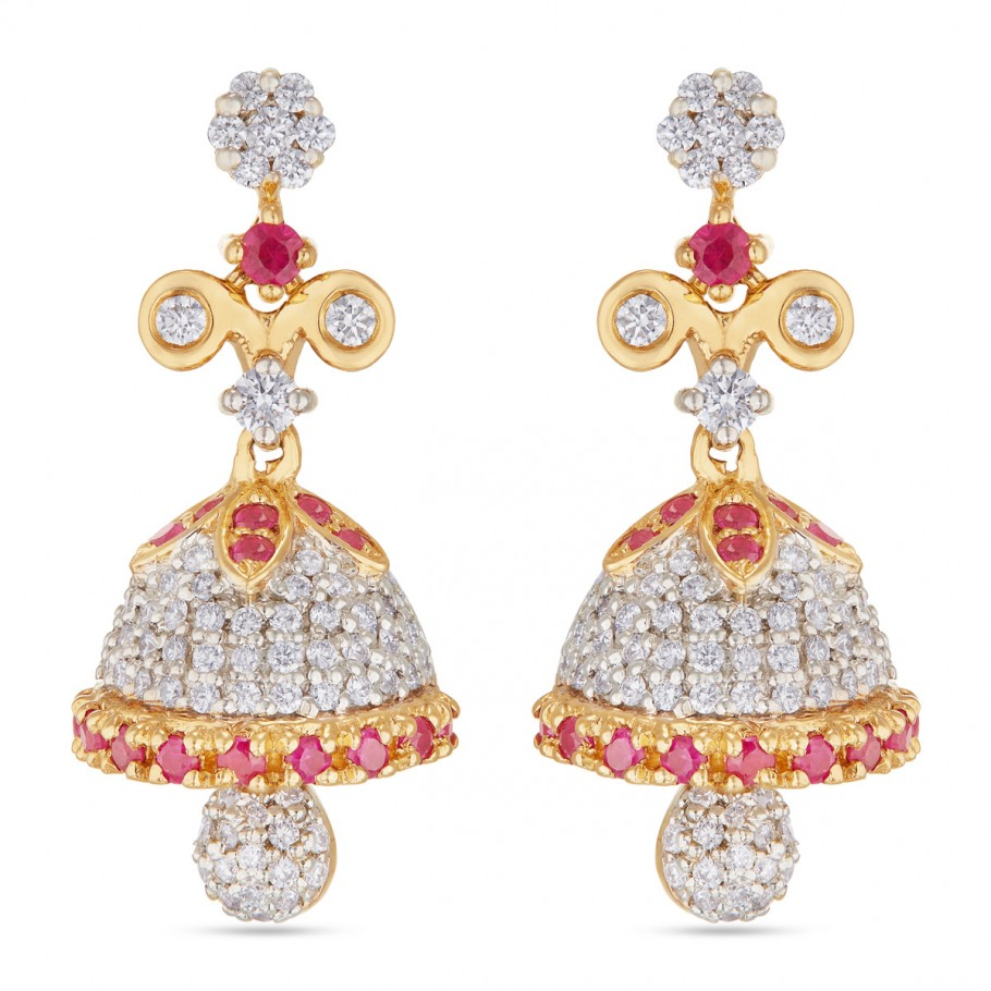 Ruby-Diamond Jhumkis