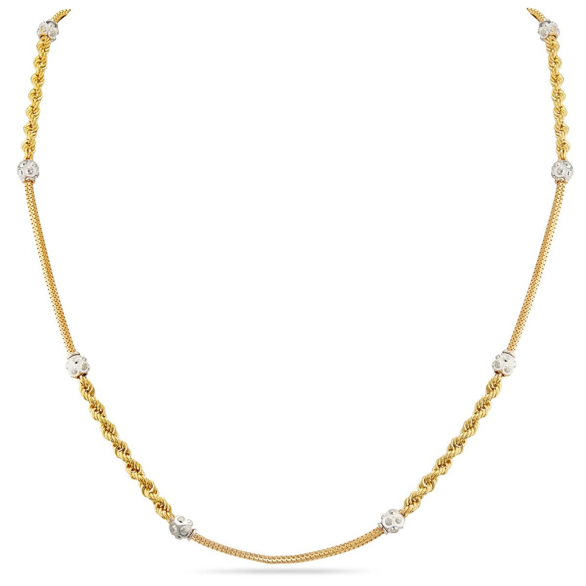 Buy Twist And Straight Design Chains Rhodium Finish Gold