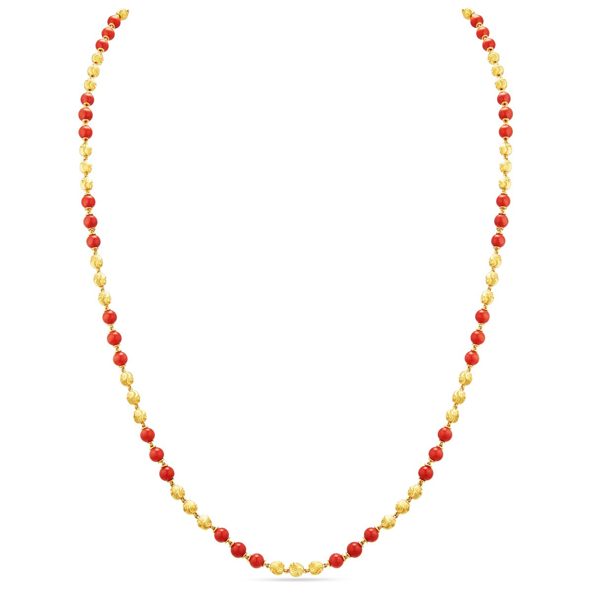 Buy Red Balls Design Gold Chain | Small Beads Gold Chain Online