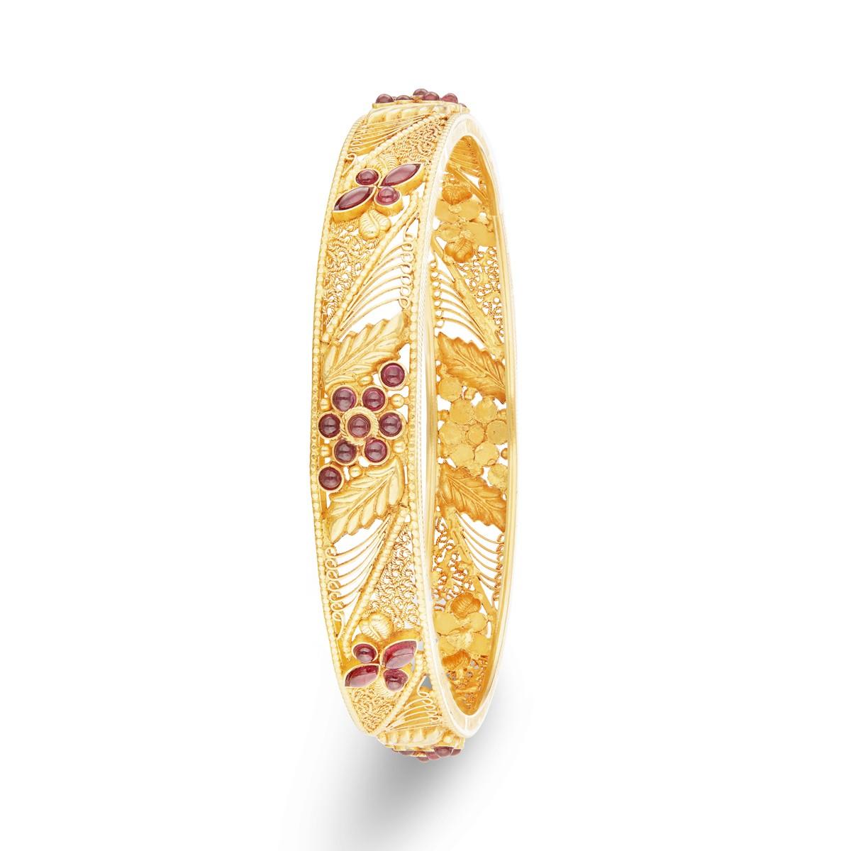 Graceful Red Kemp Stone Gold Bangles | Buy it Online | SVTM