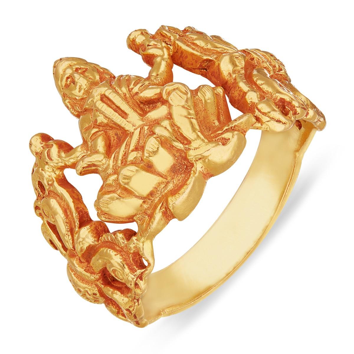 Mahalakshmi Yellow Gold Ring Designed Gold Ring India