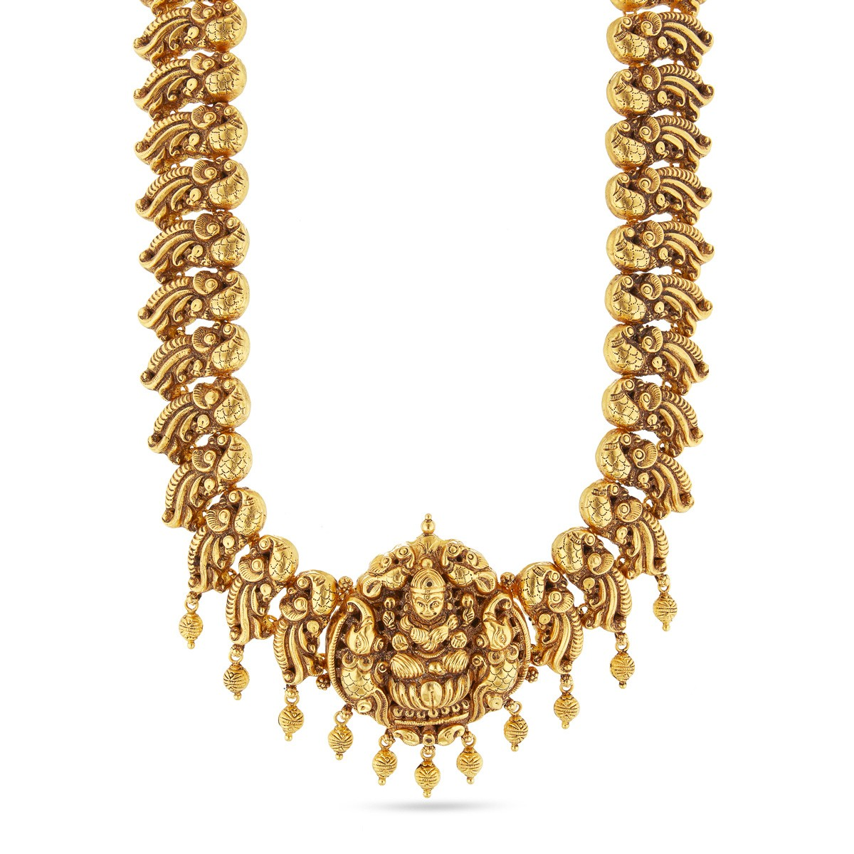 jewelsmart beads floral antique plated jalar jewellery necklace nakshi matte design mango gold premium collections