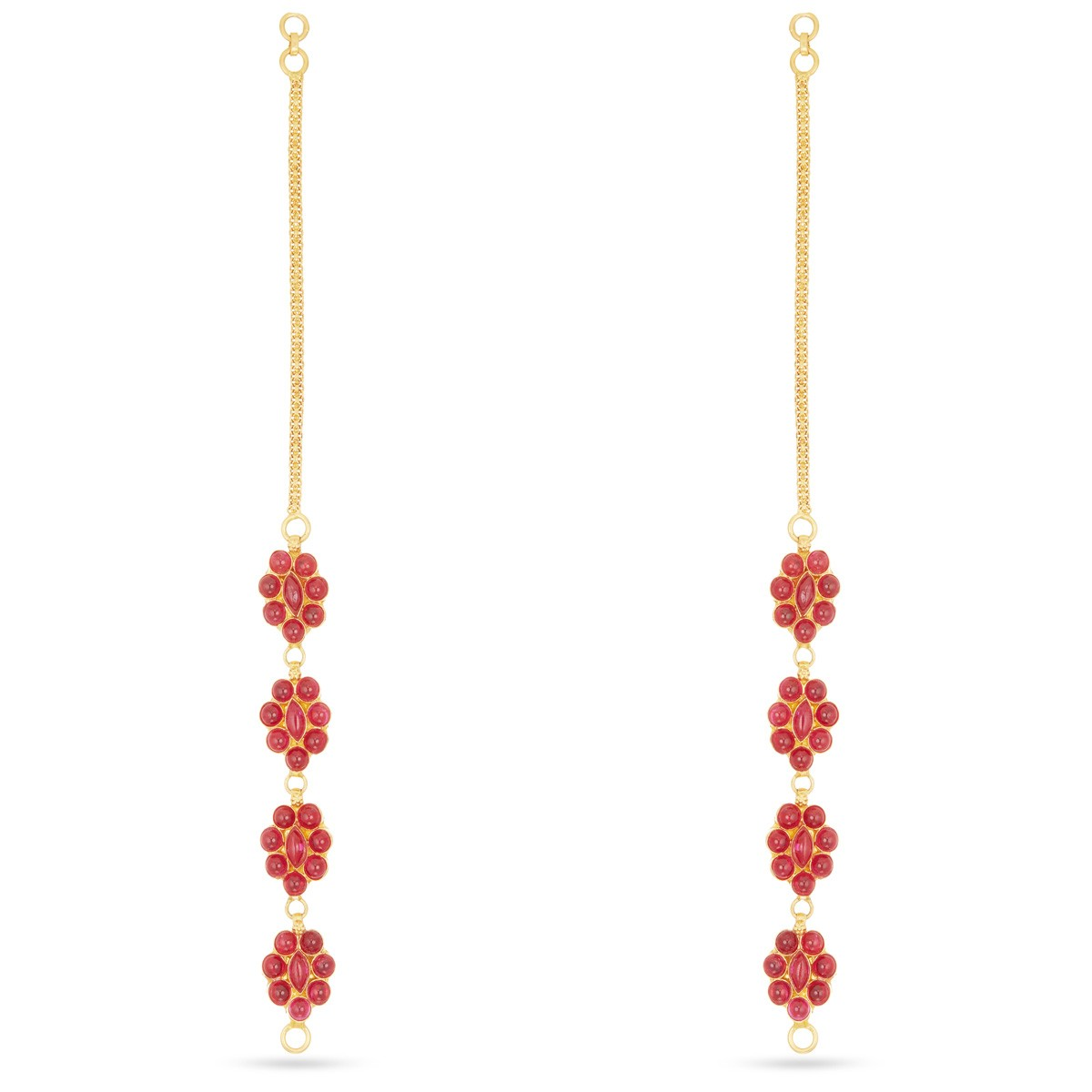 Buy Red Stone Gold Earring Online | Traditional Gold Earring ...
