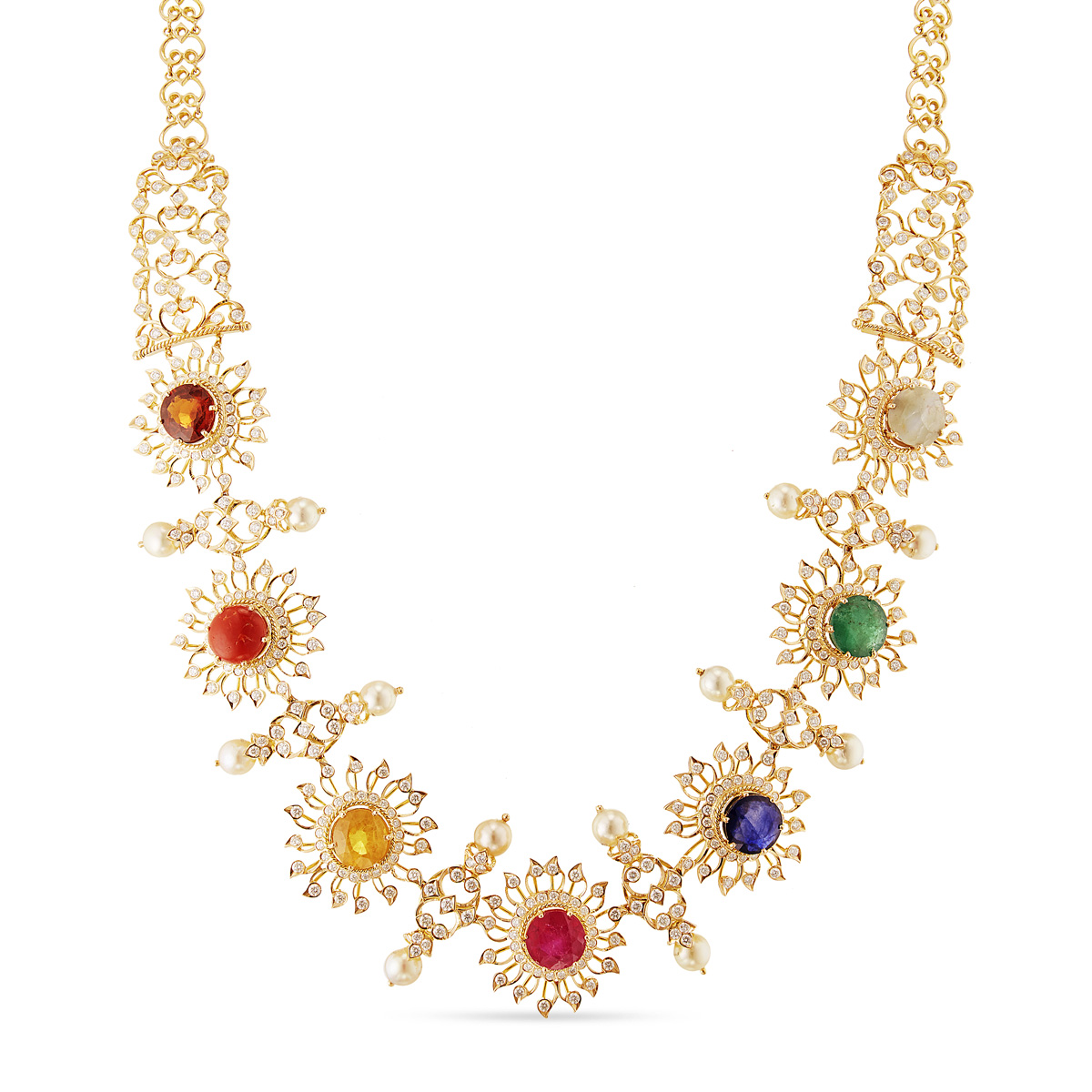 Alluring navarathan necklace