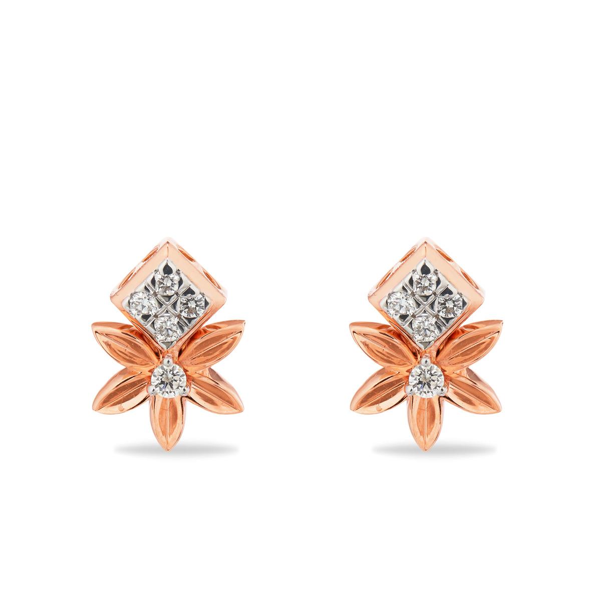Quaint Floral Diamond Earring